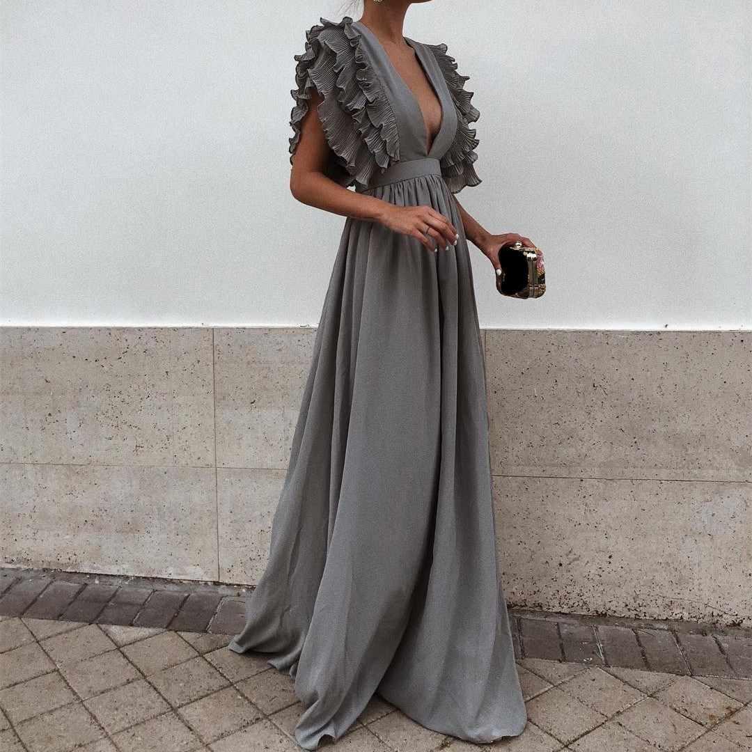 2018 New Fashion Women Solid Dress Sexy Deep V Neck Backless Maxi Dress  Flying Short Sleeves 39b0be90f0e2