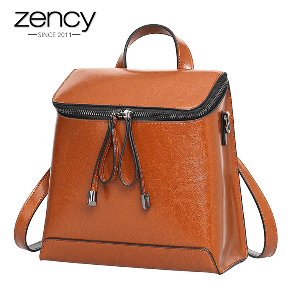 44cba262f092 Zency Fashion Brown Women Backpack 100% Genuine Leather Knapsack Casual  Lady Travel Bag Girls Schoolbags Notebook Preppy Style