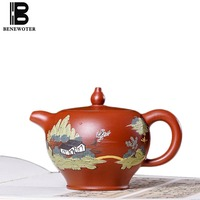 300cc Authentic Yixing Purple Clay Teapot Scenery Pattern Raw Ore Zisha Pot Drinkware Chinese Kung Fu Tea Set Black Tea Kettles