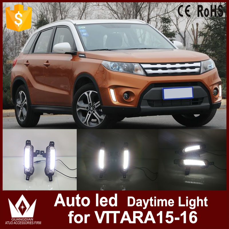 Tcart Car DRL 12V LED Daytime Running Light Daylight For Suzuki Vitara 2015 2016 Replacement Drl light with turn signal tcart for toyota rav4 2016 2017 drl daytime running light with turn signal light function headlight fog lights led car day light