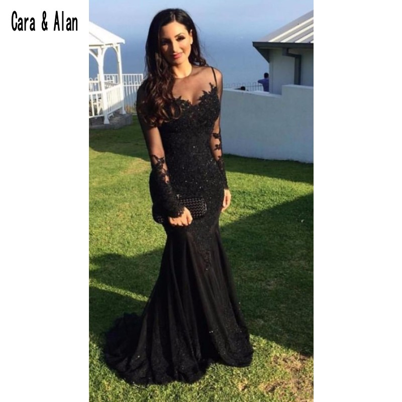 Formal Black Evening Dresses Mermaid Long Sleeve Sheer Neck Prom Dress 2019 Lace Applique Custom Made Party Gowns - 2