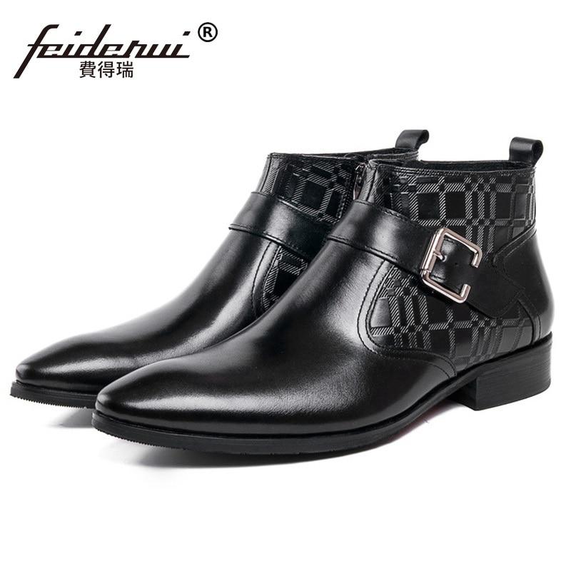 0b45eb65 Męska Buty Projektant Leather Włoski Biznes Czarny Szpiczasty Mężczyzna  Cowboy Luksusowy Martin Nosek Zachodnich Top brązowy ...