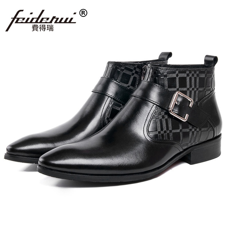 Luxury Man Pointed Toe Western Ankle Boots Top Quality Genuine Leather Italian Designer Business Men's Cowboy Martin Shoes SF53 цены онлайн