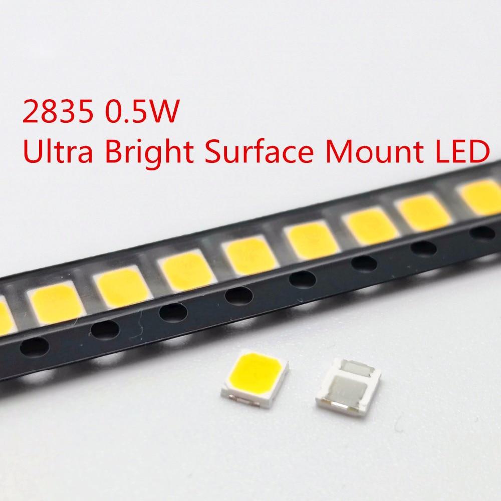 100pcs 200pcs SMD LED 2835 White Chip 0.5 W 3.0-3.6V 150mA 45-50LM Ultra Bright Surface Mount LED Light Emitting Diode Lamp