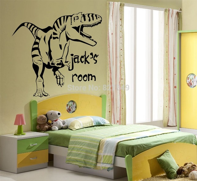 Kids Room Vinyl Wall Stickers Personalised Dinosaur Giant Wall Art ...