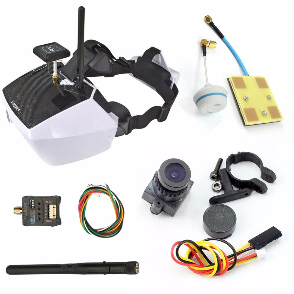 Goggle4 FPV Video Transmission Glasses with 300mW A/V Transmitter Mushrrom Antenna 1000TVL Camera for DIY RC Racer Drone original aomway rx006 dvr video recorder 5 8g 48ch diversity raceband a v receiver for rc multicopter antenna transmitter part
