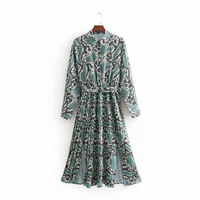 2019 Women Summer Dress Sexy Snake Print Split Pleated Dress Shirt Collar Long Sleeve Spring Female Robe Casual Party Dresses