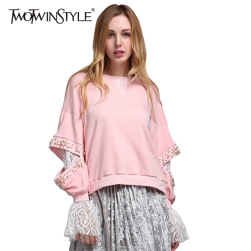 TWOTWINSTYLE 2020 Korean Lace Beading Long Sleeve Female Sweatshirts Hoodies For Women's Pullover Clothes Korean Pink Fashion