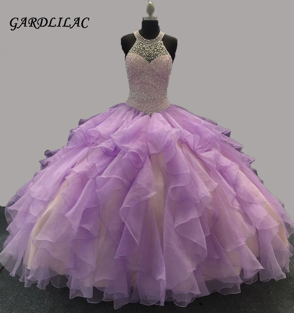 594dcc29f37 New Halter Lilac Quinceanera Dresses Ball Gown Rhinestone Organza Ruffles  Sweet 16 Dresses Long Prom Gown Vestidos De 15 Anos