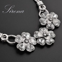 NC005 2015 Big Flower Rhinestone Crystal Statement Vintage Silver Color Choker Necklace Wholesale Accessories Prom Jewelry