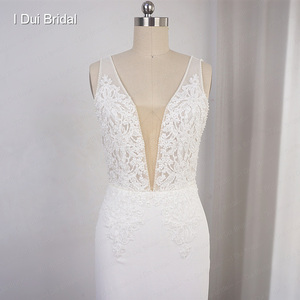 Image 5 - Deep V Neckline Wedding Dress Sheath Chiffon Lace Elegant Bridal Gown