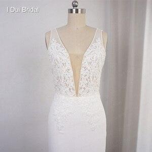Image 5 - Robe de mariée en mousseline de soie, décolleté en V profond, robe de mariée élégante