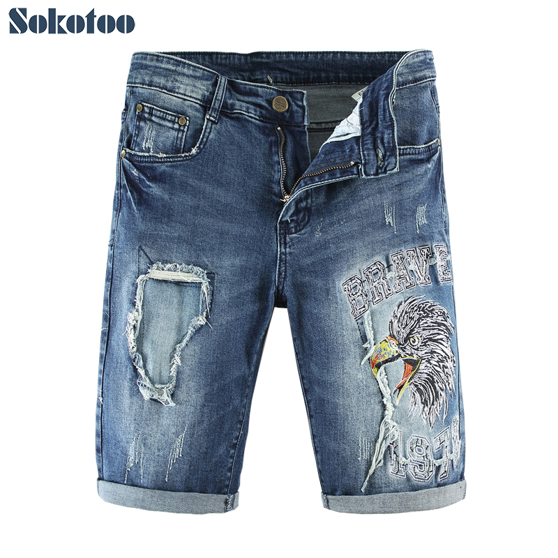 Sokotoo Men's Hawk Eagle Embroidery Knee Length Denim Shorts Slim Straight Embroidered Blue Jeans