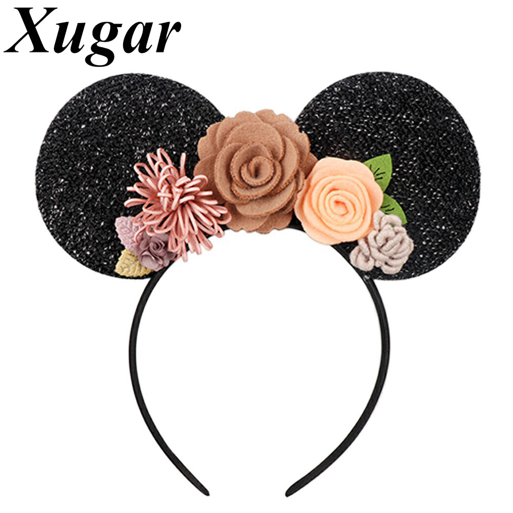 Xugar Hair Accessories Floral Hairband For Girls Handmade Mouse Ears Headband Children Kids Head Band