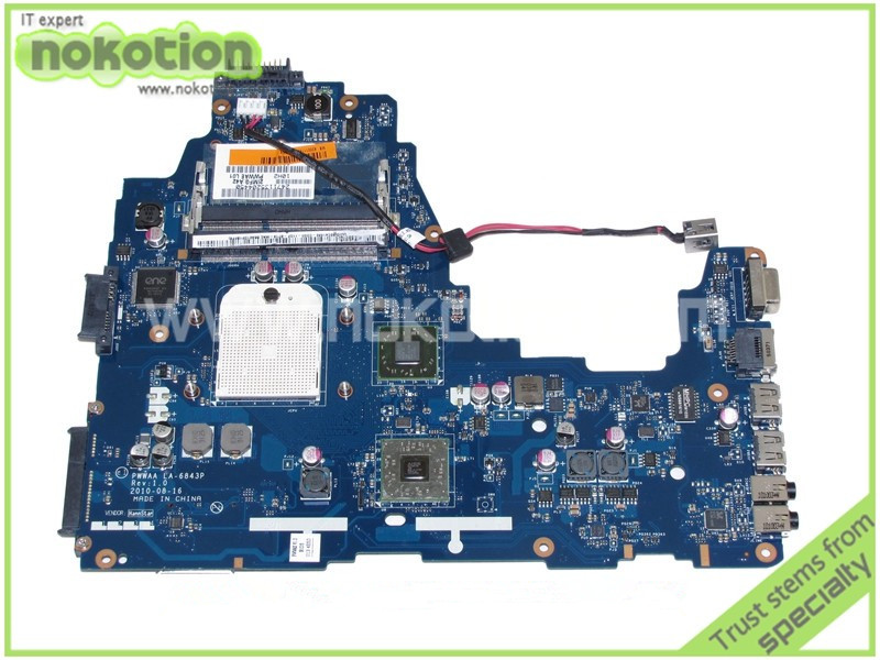 NOKOTION PWWAA LA-6843P MB K000111550 For toshiba satellite c660 c660D Laptop motherboard ATI HD4200 DDR3 c660 integrated ddr3 for toshiba satellite c660 laptop motherboard k000128540 la 6849p full test