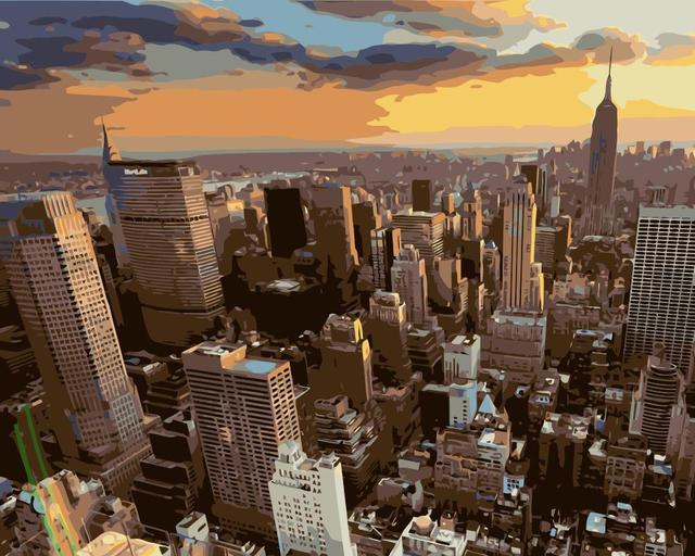 Mahuaf J631 New York City Gebäude Sonnenuntergang Wolken Diy Malen Nach Zahlen Acryl Malen Nach Zahlen Kit Landschaft Wand Bilder