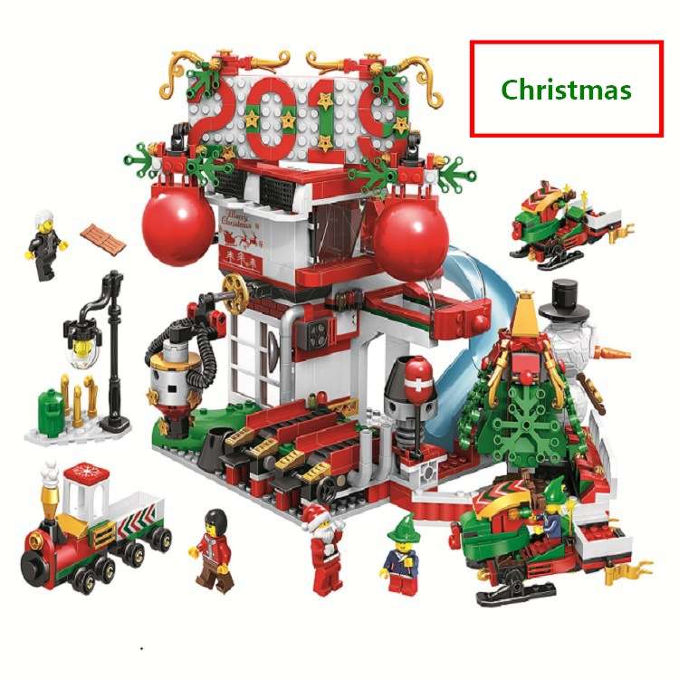 11085 Christmas Advent Calendar Santa Claus Snowmobile Slide Park Figures Building Blocks Model Toys Compatible with lego Gifts santa claus with gifts flowers printed pillow case
