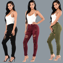 Summer new personality high waist worn old womens jeans casual hole female slim feet tight trousers