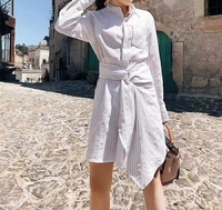 Модное осеннее платье в белую полоску Женская одежда повседневные платья для женщин для офиса с длинным рукавом платье Женская vadim рубашка