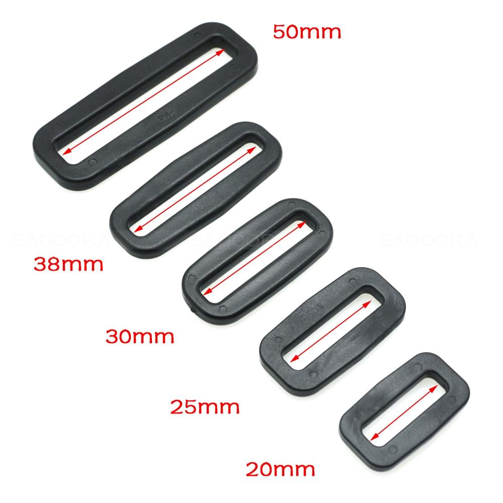 Plastic Black Loops Adjustable Buckles Rectangle Rings
