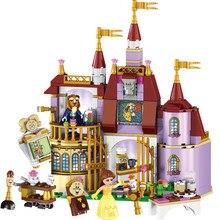 Prenses Belles büyülü kale yapı taşları seti kız arkadaşlar için çocuklar klasik Model oyuncaklar uyumlu