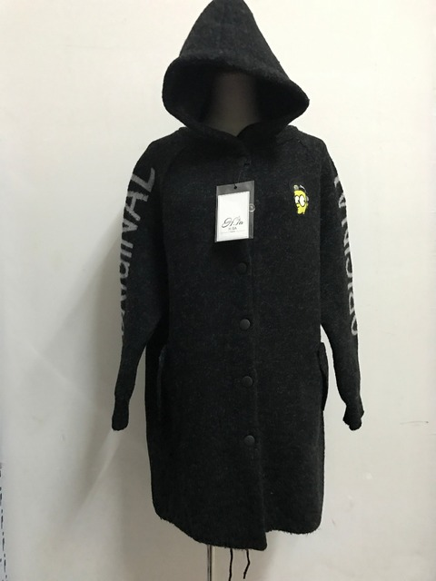 Long Knitted Fleece Hoodie Jumper