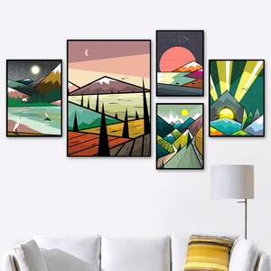 Image 2 - Balena astratta Foresta di Montagna Paesaggio Nordic Poster E Stampe di Arte Della Parete della Tela di Canapa Pittura Immagini A Parete Per Living Room Decor