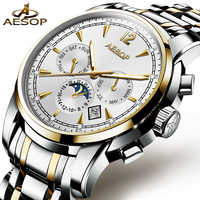 AESOP Man Automatic Mechanical Watch Men Luxury Gold Blue Men's Wristwatch Waterproof Male Clock Men Luminous Relogio Masculino