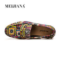 MEIJIANA Leather Flats New Mens Casual Shoes Loafers Driving Shoes Colorful Fashion