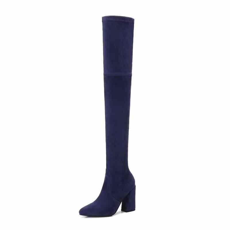 Smirnova גודל 33-43 חם 2018 אופנה ילד זמש עור מעל הברך מגפי נשים עבים zip עקבים מחודדת הבוהן מגפי נעליים יומיומיות