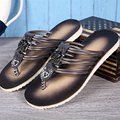2017 New Men Genuine Leather Beach Shoes Flip Flops Men's Casual Tennis Shoes Sandals Summer Slippers Gladiator Shoe 38-46