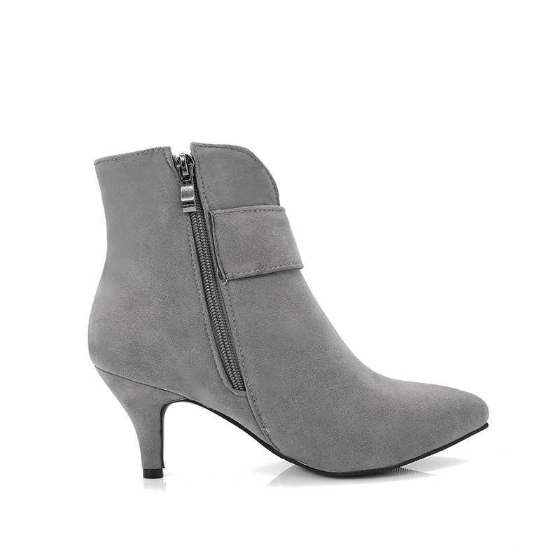 WETKISS Ince Yüksek Topuklu Kadın bileğe kadar bot Sivri Burun Akın Ayakkabı Kristal Bayan Botları Zip Ayakkabı Kadın 2018 Artı Boyutu 33 -48