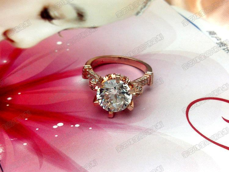 Sterling 14K 585 Rose Gold Oxhead Style 3Carat Wedding Ring For
