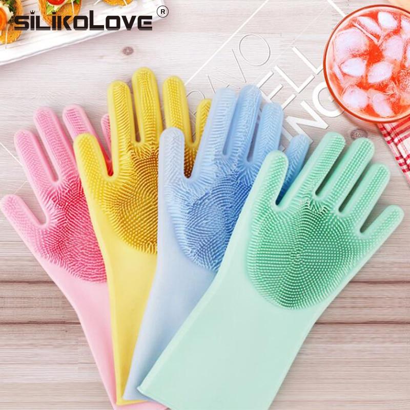 1 para Magie Silikon Dish Waschen Handschuhe Silikon Schrubben Handschuhe Für Küche Bad Haushalts Reinigung 8 Farben