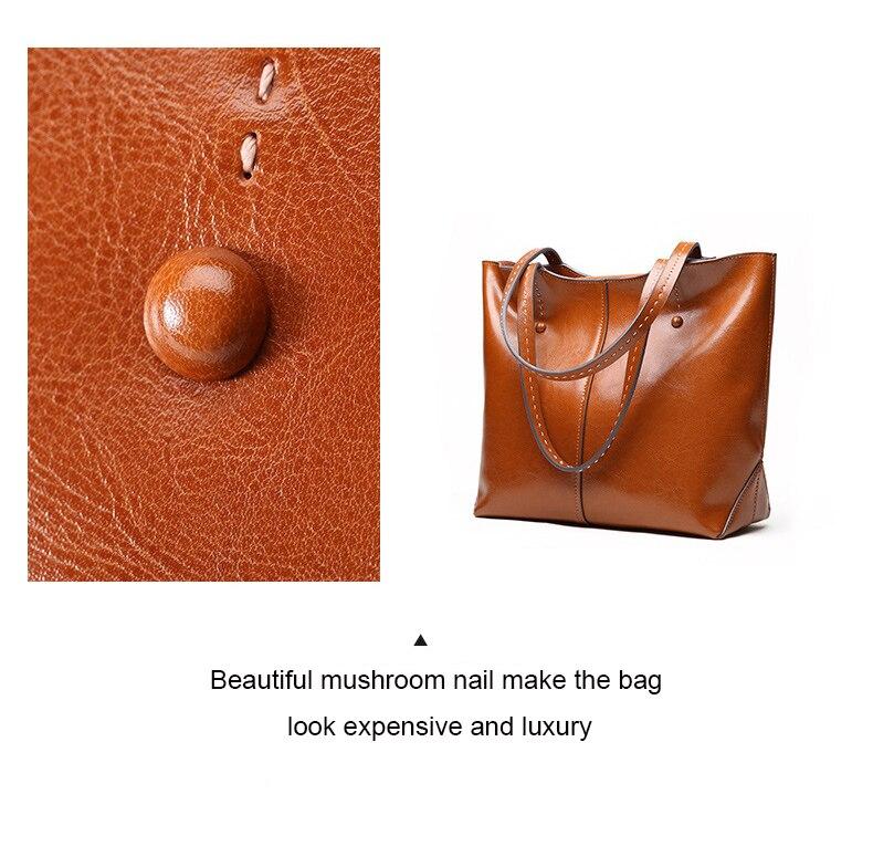 Senhoras de couro genuíno sacos de ombro