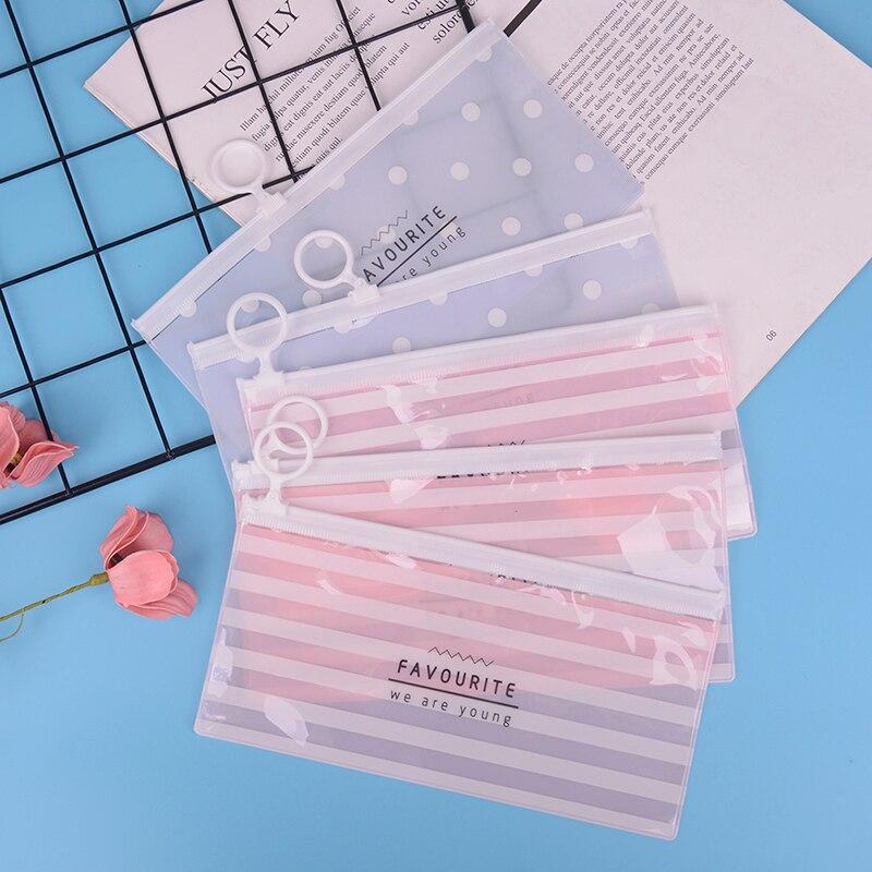 Korea School Stationery Lovely Cute Kawaii Creative PVC Envelope To Receive Bag Fresh Translucent Folder 18.8*9.3cm