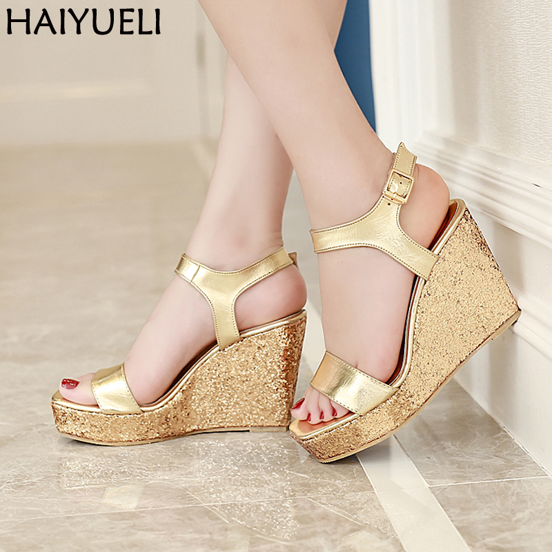 Gold/Silver Wedges Sandals High Heel Platform Shoes Summer Roma High Heel Sandals Sandalias Rasteiras Femininas Women Shoes phyanic 2017 gladiator sandals gold silver shoes woman summer platform wedges glitters creepers casual women shoes phy3323