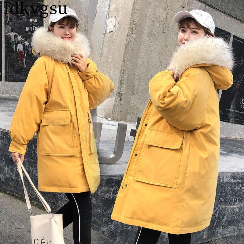 Hiver Veste black Manteau Long À Capuchon Femmes Lâche Peau yellow Élégant De red Épais 2018 Grand Fourrure blue V119 Chaud Parkas D'hiver Nouveau Col Beige UqA5x