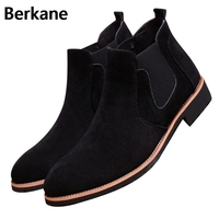 Chelsea Boots Pointed Toe Men Suede Leather Kanye Black Brand Solid Winter Autumn Ankle Casual Shoes
