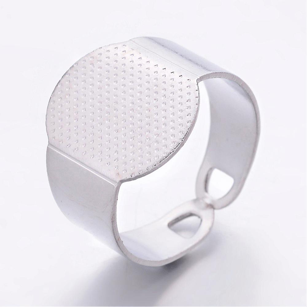 Image 2 - 200 sztuk/partia rozmiar 6 (16.5mm) mosiężny mankiet Pad płaski pierścień bazy pierścienie ustawienie komponenty z 15x11mm taca hurtowniring basebrass ring basebase pad -