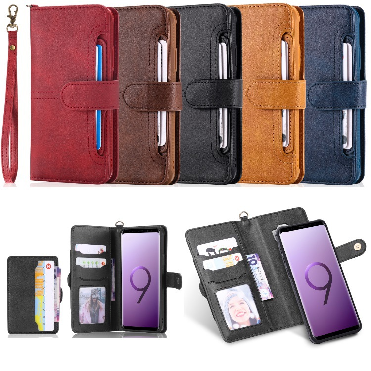 For Samsung Galaxy S8 S9 Plus Fashion Multifunction Card Leather Phone Case For iPhone 6 6S 7 8 X Plus Cover