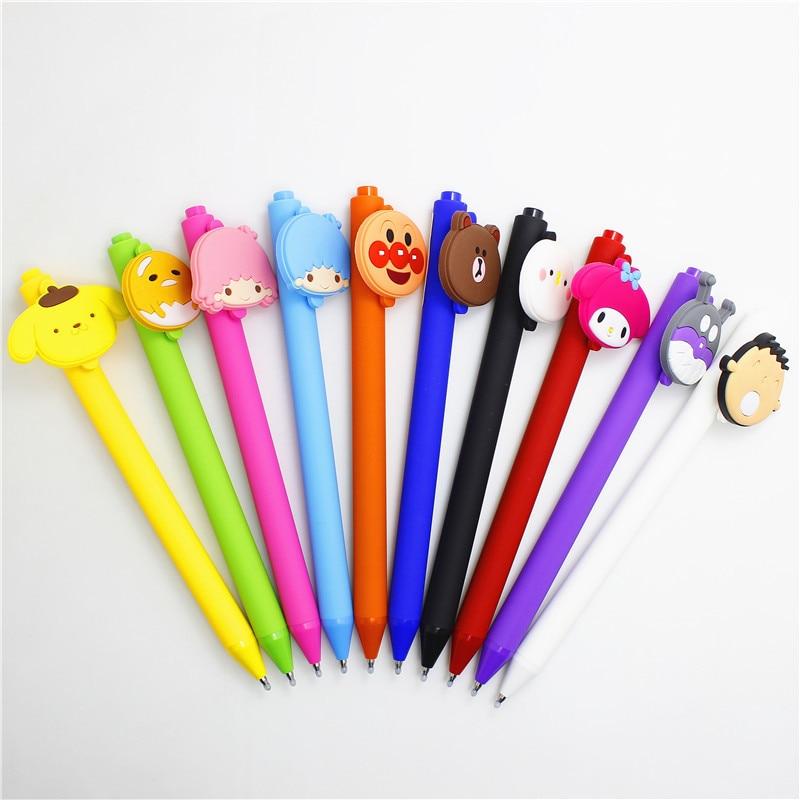 36pcs lot cartoon Anpanman dog boy girl bear melody frosted push gel pen promotion gift unisex