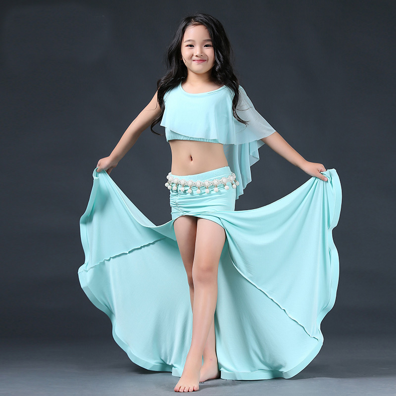 New Fashion Modal gauze Belly dance Long Placketing Skirt 2pcs set for little girl/children, costume performance wear RT003