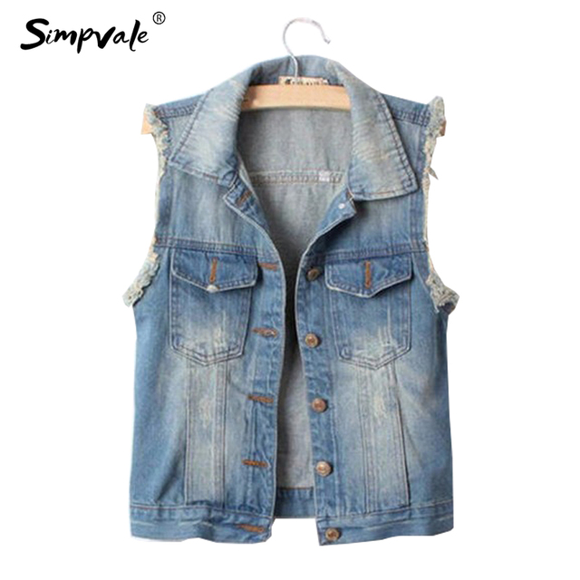 Us 14 72 Simpvale Women Frayed Personalized Cardigans Lady Denim Jean Vest Coat Turn Down Collar Vintage Short Outwear Cool Jacket In Vests