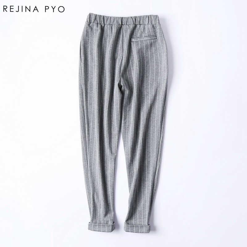 Rejina гнойно высококачественные эластичный материал в полоску шаровары Штаны ножки брюки женские повседневные Модные Штаны
