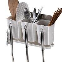 Wall Mount Shelf Chopsticks Leakage Multifunction Rack Kitchen Accessories Shovel Spoon Rack Bucket Knife Fork Storage