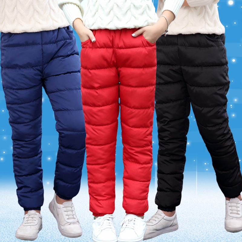 8-15T Boys & Girls Cotton Pants Winter Warm Down Cotton Pants For Children Casual Solid Thicking Outwear Trousers High Quality winter down pants for boys & girls children s fashion solid parka warm trousers casual elastic waist straight kids pants outwear