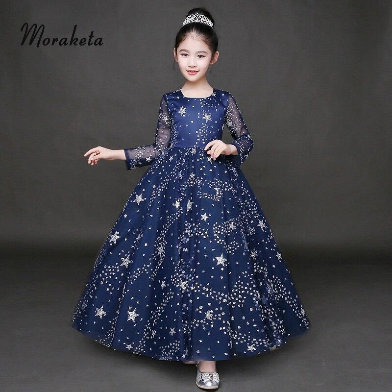 Shiny Glitter Star Ball Gown Floor Length Toddler Pageant   Dresses   2019 Long Sleeves Princess Navy Blue   Flower     Girl     Dresses