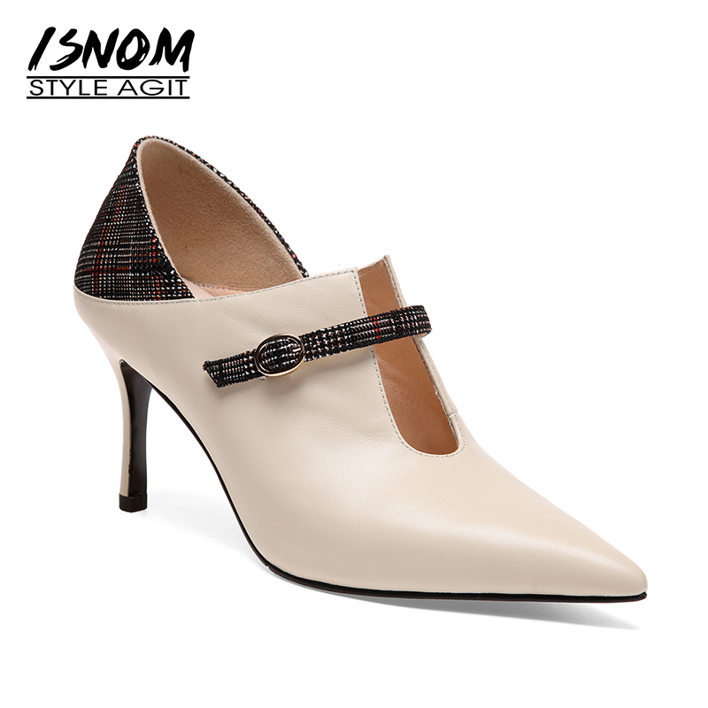 ISNOM Occident Autumn Cow Leather Women Pumps Plaid Pointed Toe Female Shoes Cover Instep Footwear New