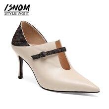 ISNOM 西洋秋牛革女性はチェック柄ポインテッドトゥ女性の靴甲新ハイヒールの女性の靴